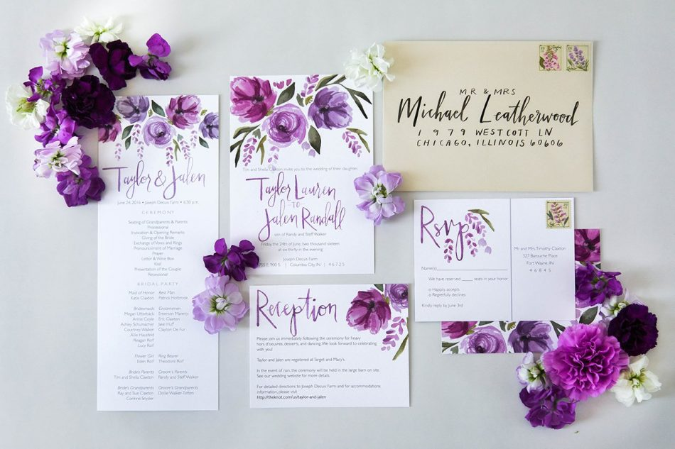 Ultra violet custom wedding stationary by Sommer Letter Co. #WeddingInspiration